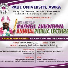Archbishop Maxwell Anikenwa Annual Public Lecture