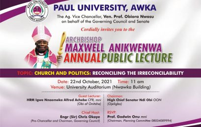 UPCOMING ANNUAL PUBLIC LECTURE BY ARCHBISHOP MAXWELL ANIKWENWA